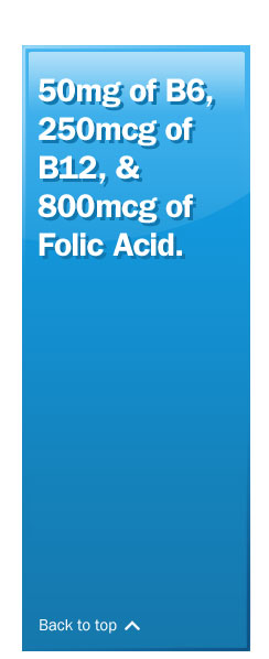 50mg of B6, 250mcg of B12, & 800mcg of Folic Acid